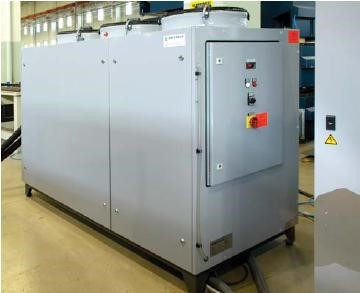 Chiller  The chiller is essential to cool the resonator. • This allows the machine to work continuously 24/7 • Closed circuit system, no possibility of calcium deposits • Reduction of water costs • Vibration free. Low noise, high efficiency by scroll compressor.