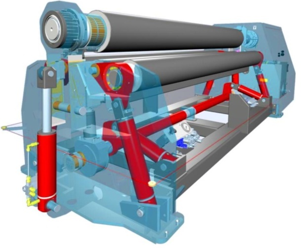 Synchronized Roll System  The bottom roll pinches the different plate thicknesses without deformation. The pinching rolls maintain parallelism by the hydraulic adjustable pressure torsion bar.