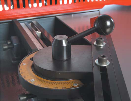 Manual Protractor   This device allows easy and fast angle cutting of sheet. Calibrated in degrees the operator can position the sheet at the angle of cut desired
