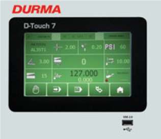 DURMA Touch Screen controller for shears  The powerful touch screen CNC control unit offers integration with all the machines axes at the one interface. The operator enters the plate type, the plate thickness, the plate length, and the desired back gauge position and the controller automatically sets the blade rake, the blade gap and rapidly positions the back gauge.  • Programmable • Automatic calculation of blade gap • Automatic calculation of blade rake