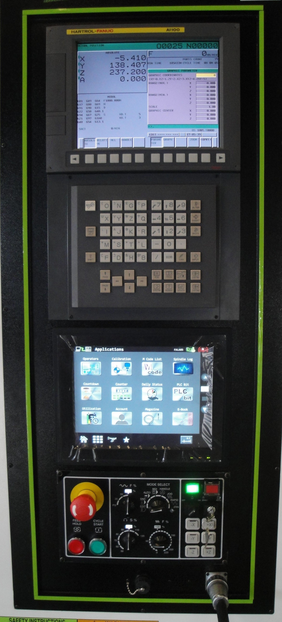 """Fanuc OiMF Control System  - 32 bit 10.4"""" Colour TFT LCD Display  - Manual guide i - Front mounted ATA flash memory card slot  - Part Program Storage 512KB (1280 metres) - Embedded Ethernet connection   HARTFORD DUAL SCREEN   Hartford, Taiwan's biggest Machining Centre manufacturer, has introduced the ground breaking dual screen interface. Available for Fanuc and Mitsubishi controllers. The touch screen interface puts all the key functions e.g. feedhold, coolant on/off etc...at your fingertips. The graphical workpiece calibration interface makes set up an absolute breeze. Saving you time and money.   It's a game changer!"""