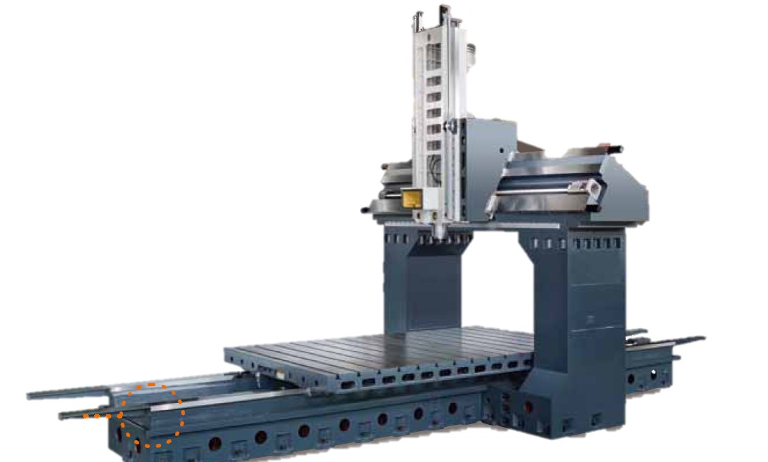 Box Way Construction  - Rigid wide stance column. - The head wraps around the column ways for extreme rigidly.  - 4-ways in Y axis increases flat surface contact area for extreme rigidity - Table and saddle wrap around the box ways - 10200mm Y axis travel