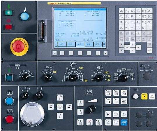 """Fanuc 18iTB control system  - Max. Simultaneously controlled axes: 4 - 10.4"""" Colour TFT LCD Display  - Front mounted ATA flash memory card slot  - Part Program Storage: 256KB (640 metres)"""