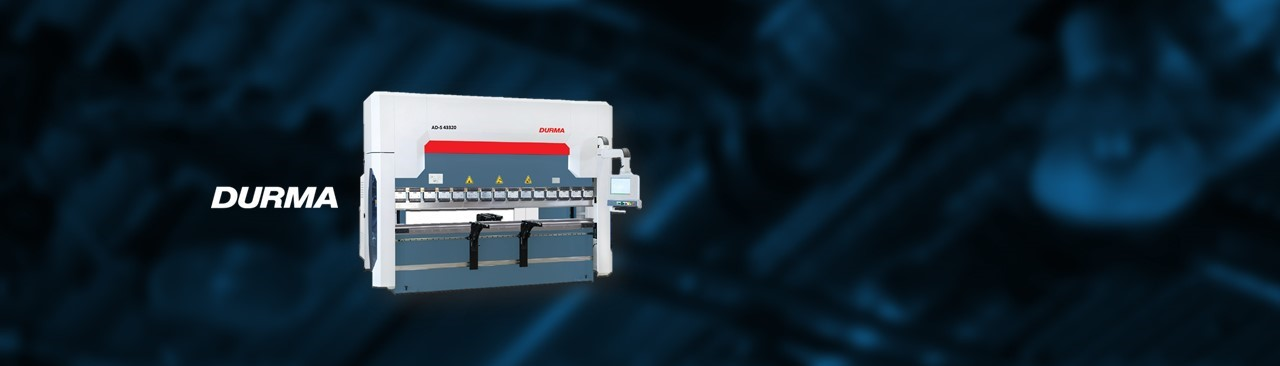 DURMA AD-S PRESS BRAKE   DURMA AD-S high performance series CNC press Brakes offer unlimited possibilities for faster setup & production. Standard with the 3D graphical Cybelec ModEva 15 touchscreen controller. Optional multi axis back gauge for taper folding and hydraulic quick change tool clamping.