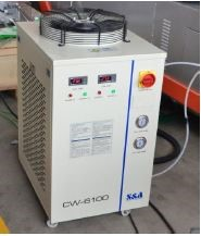 Chiller   The chiller is essential to cool the head.  • This allows the machine to work continuously 24/7  • Closed circuit system, no possibility of calcium deposits  • Reduction of water costs  • Vibration free. Low noise, high efficiency