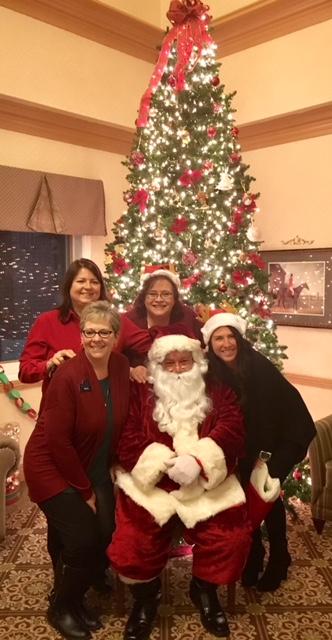Carolyn, Gail, Beth, Josie, Santa and tree.jpg