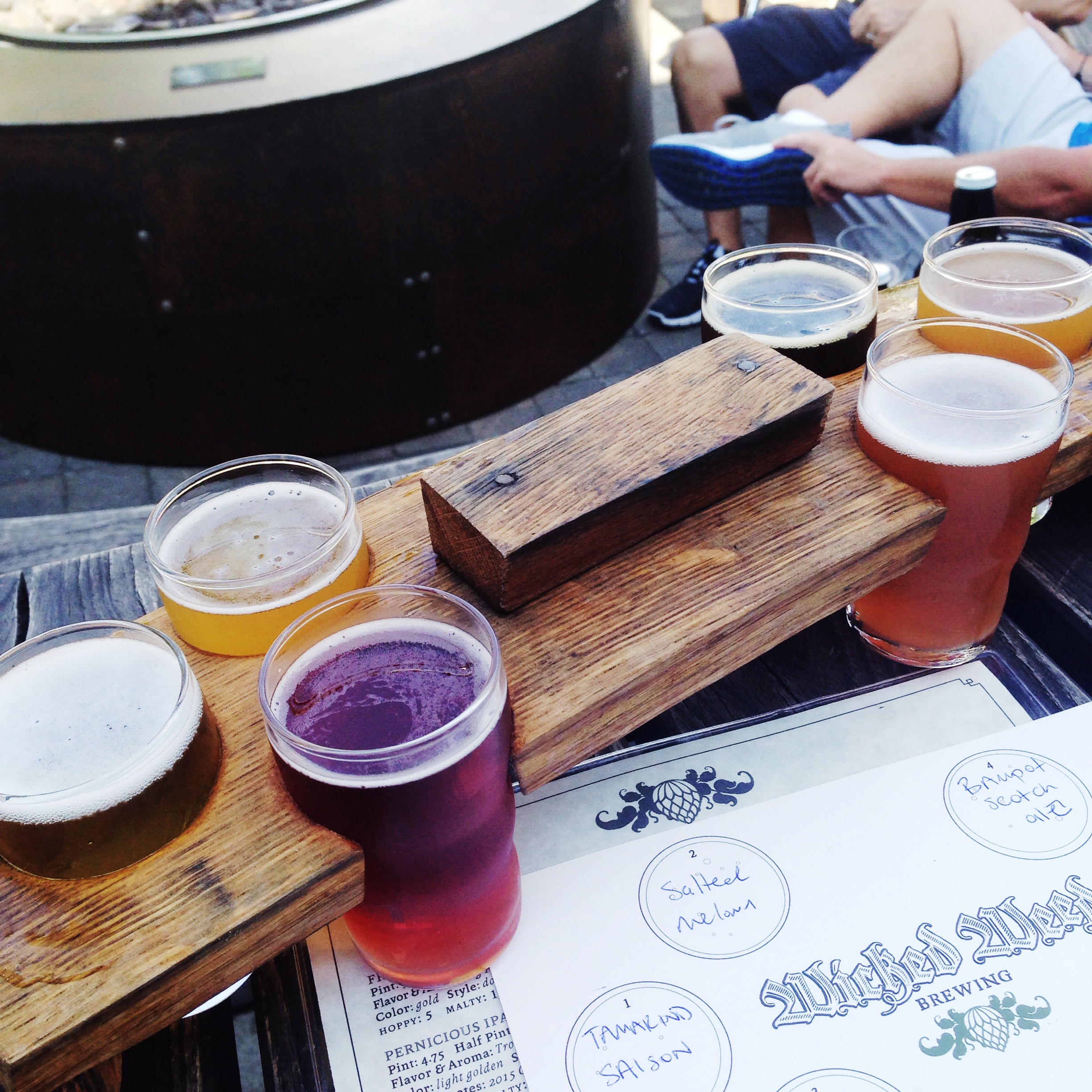 Beer flight at Wicked Weed