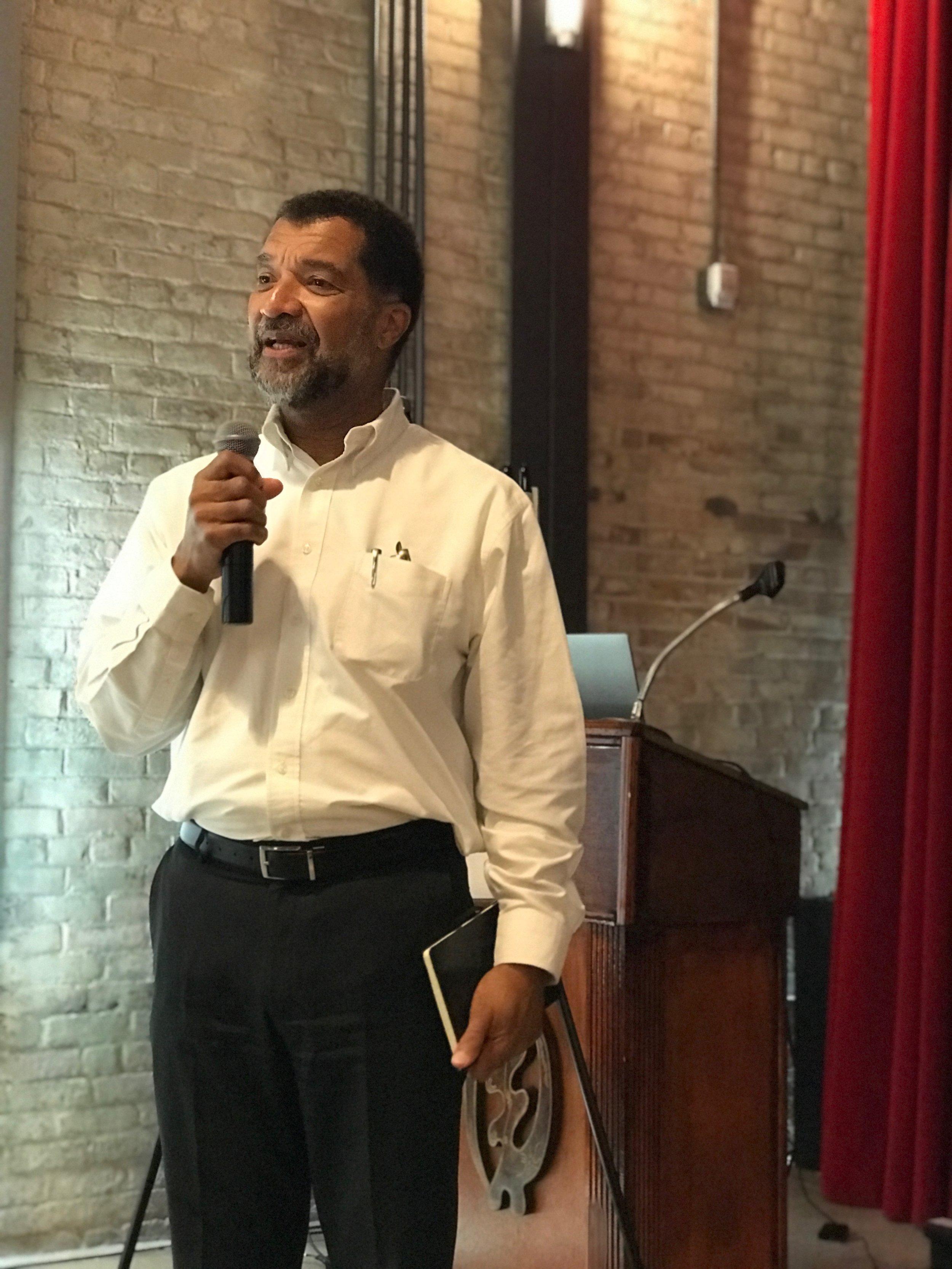 Bill Bates speaking at the 2018 Design Justice Summit