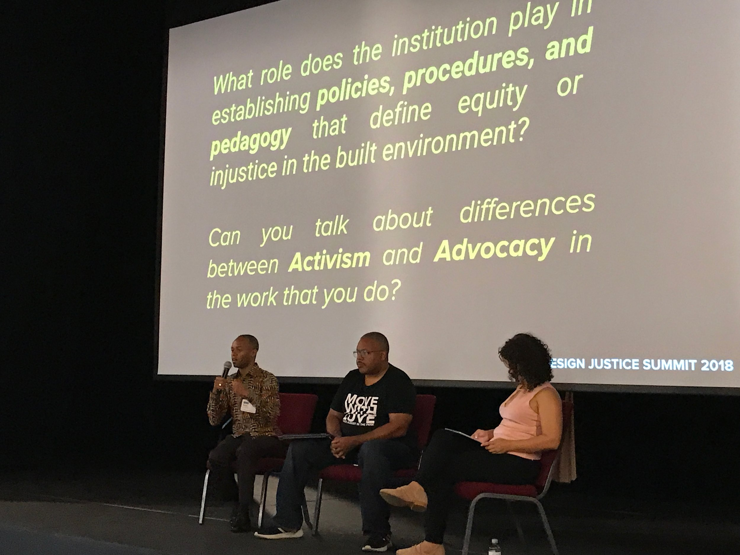 One of the panels at the 2018 Design Justice Summit