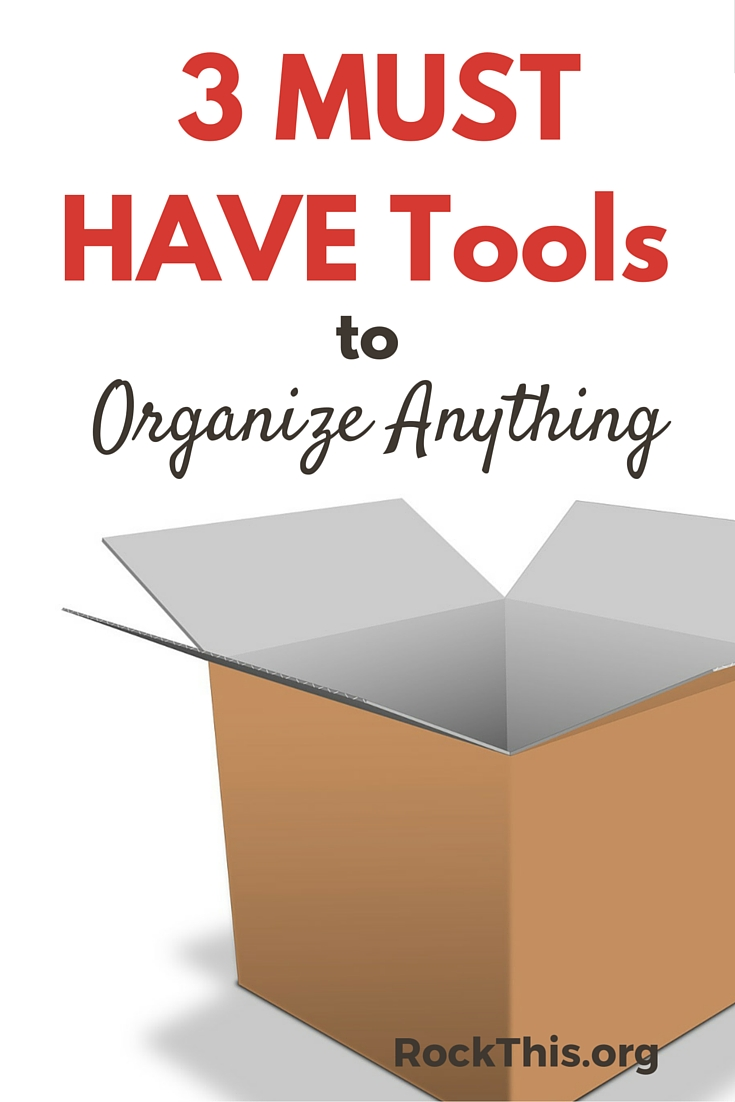 """Unsure of how to start getting organized? Tired of buying different bins and """"systems"""" that just don't work? Here's a solution, and you probably have all 3 items at your house right now!"""