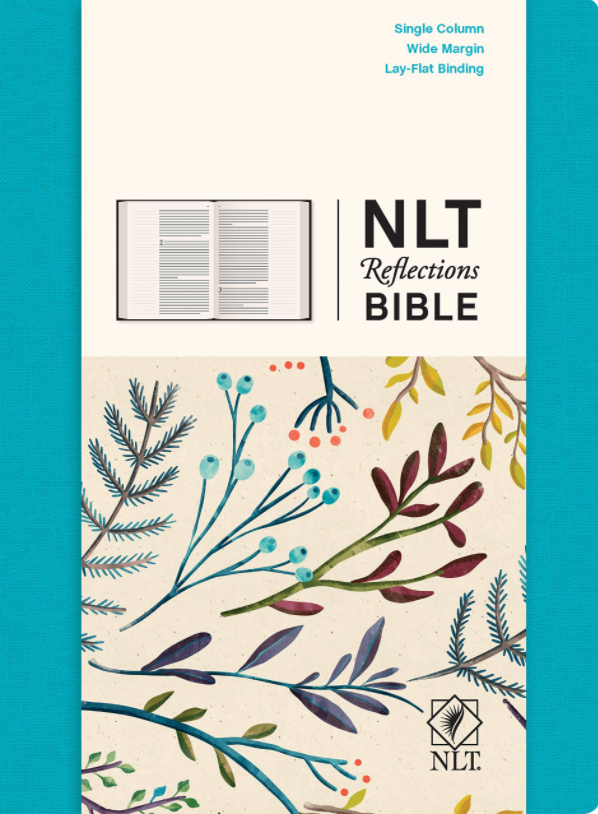 This is a single column NLT journaling Bible with bright white pages.