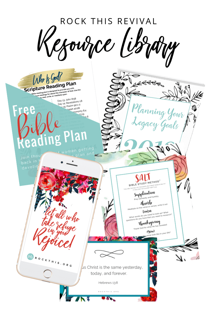 Rock This Resource Library | Get free Bible reading plans, legacy goal setting workbook, Scripture printables, and more.