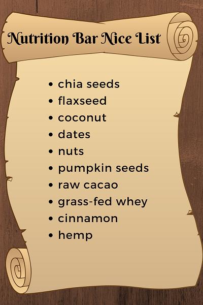 nutrition bar nice list