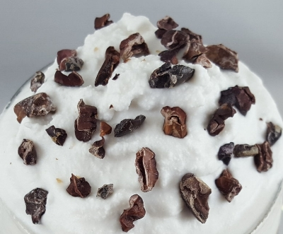Coconut whip with a cacao punch
