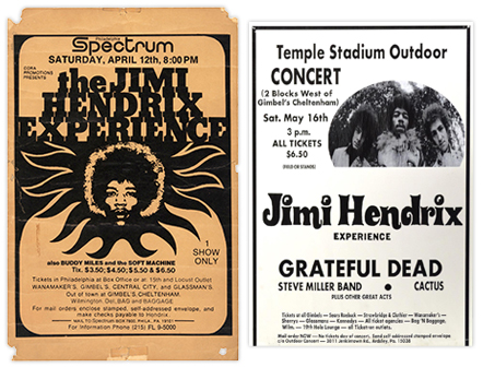 These two Philadelphia area posters are also on Mussell's want list. The first was produced for a one off show in 1969 at the Philadelphia Spectrum. The Second for a show in 1970 that was the only time Hendrix and the Grateful Dead performed on the same stage on the same day. Collector Scott Mussell is actively seeking examples for his collection. If you have these or other Hendrix concert posters contact him at srmussell@me.com or at 515.707.7250 anytime.