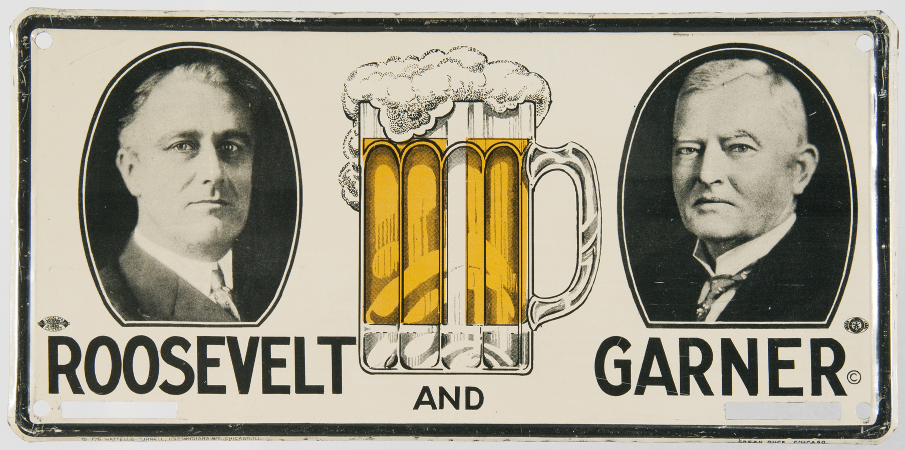 A rare Roosevelt/Garner license plate attachment from Mussells personal collection.