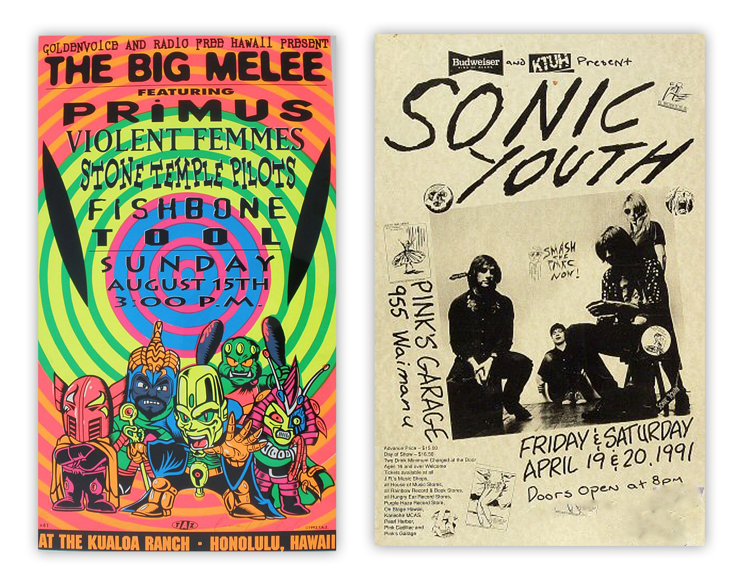 Outside of Nirvana material Mussell is interested in other posters from acts like these.