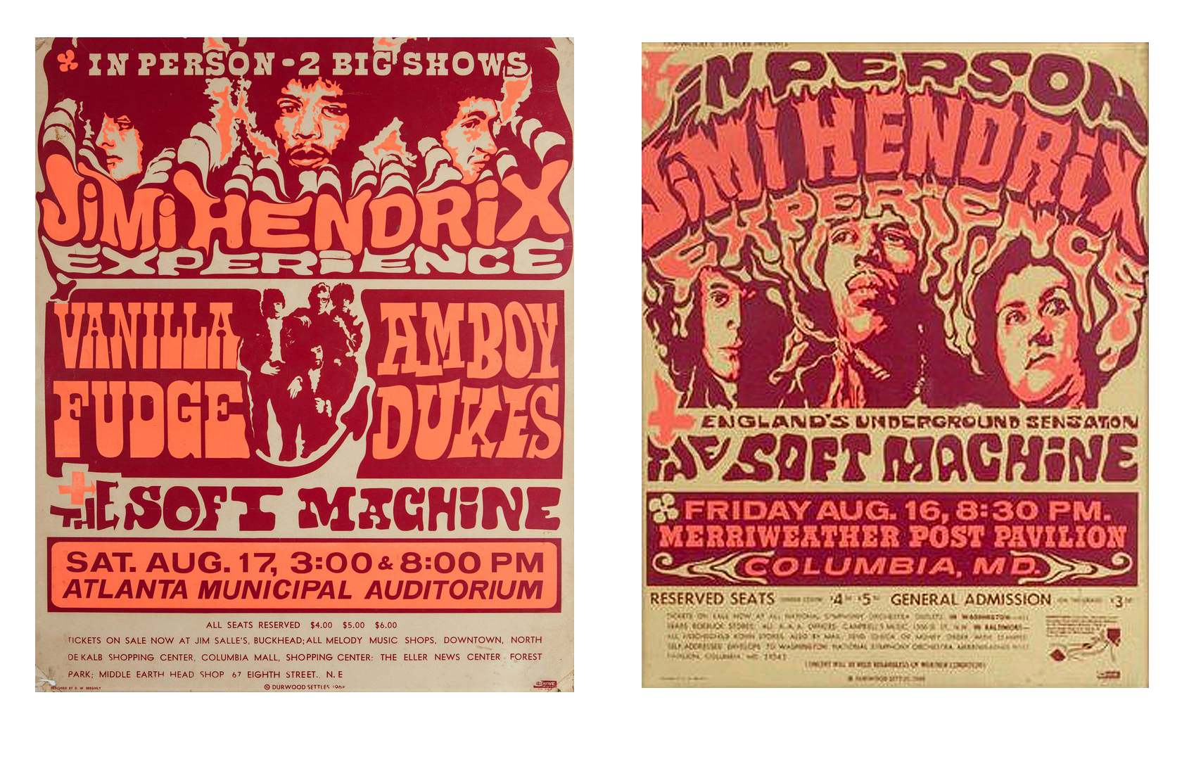 These two cardboard posters feature outstanding graphics in dayglo colors making them very appealing to collectors like Mussell.