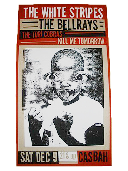 Silk screen on chip board concert poster by David Barker.