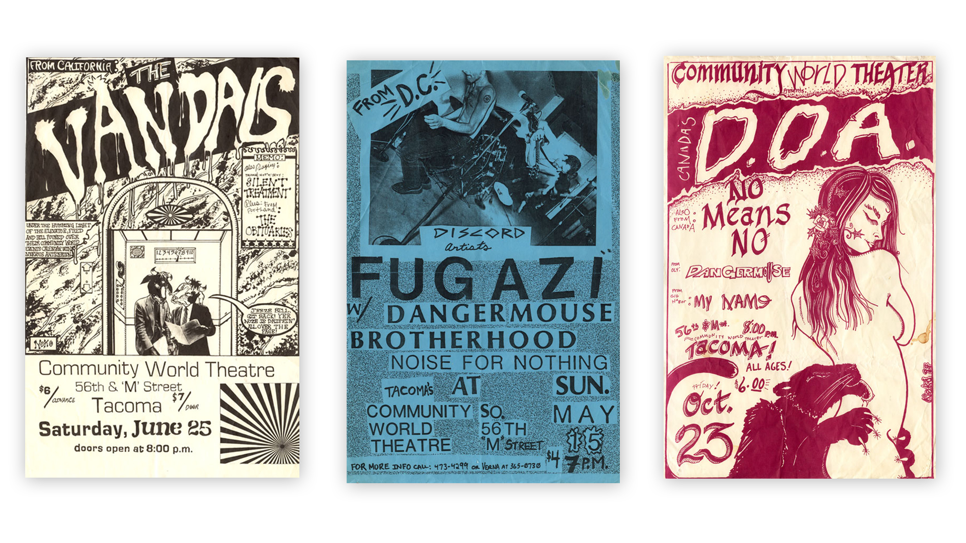 A selection of other flyers advertising Community World Theater shows during the venues short 1987-1988 run. Despite the venues short life it produced a plethora of outstanding flyers.