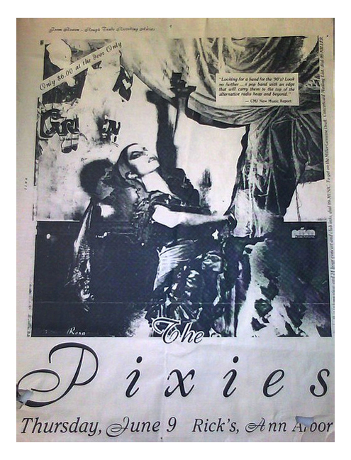 Concert Poster collector Scott Mussell is offering $200 for an example of this 1988 Pixies concert poster advertising a gig at Rick's in Ann Arbor, Michigan. If you have an example contact him at srmussell@me.com or 515.707.7250 anytime.
