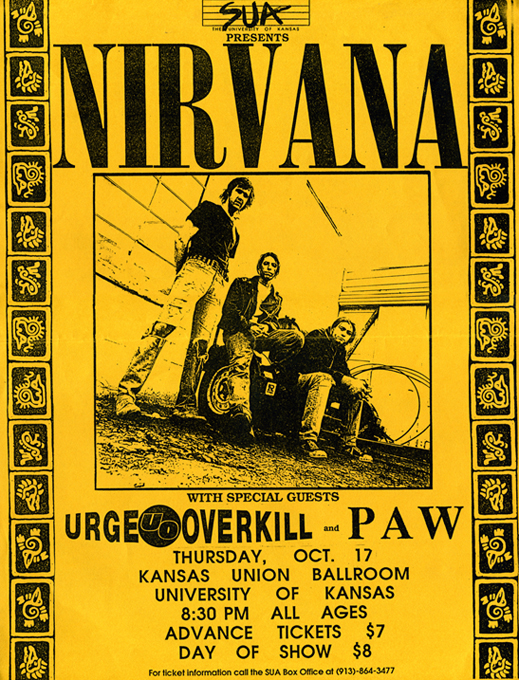 Nirvana concert poster collector Scott Mussell is seeking this flyer from the bands 1991 concert at the University of Kansas Union Ballroom. If you have an example contact Mussell at srmussell@me.com or 515.707.7250 anytime.