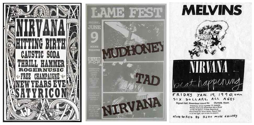 Cash for Nirvana Flyers - Always buying pre-1992 Nirvana concert posters, flyers, handbills and other concert pieces. Contact Scott Mussell anytime at 515.707.7250 or srmussell@me.com