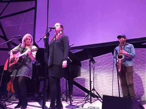 Fiona and Liz perform at ESOPUS:CLOSE CALLS at National Sawdust. Gabriel Birnbaum on sax
