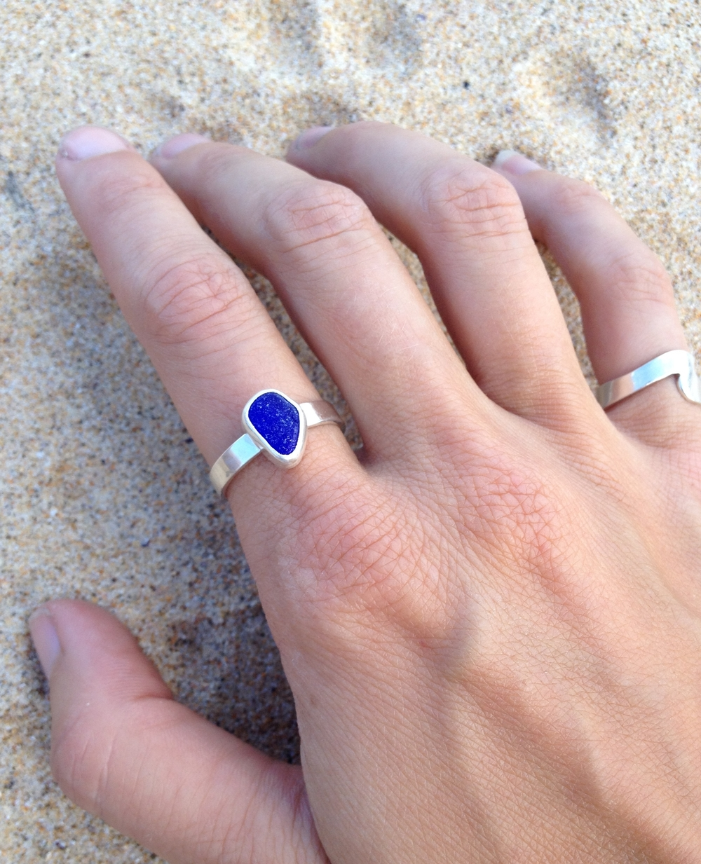 Cobalt Mini Sea Glass Sterling Silver Ring