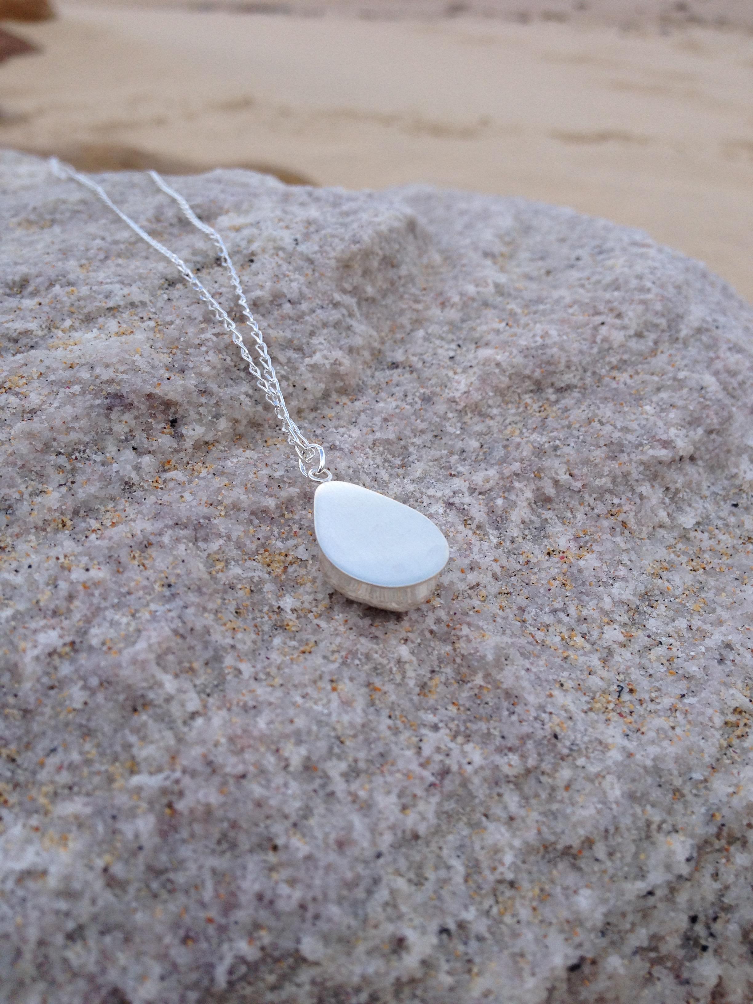 White Sea Glass Tear Drop Necklace