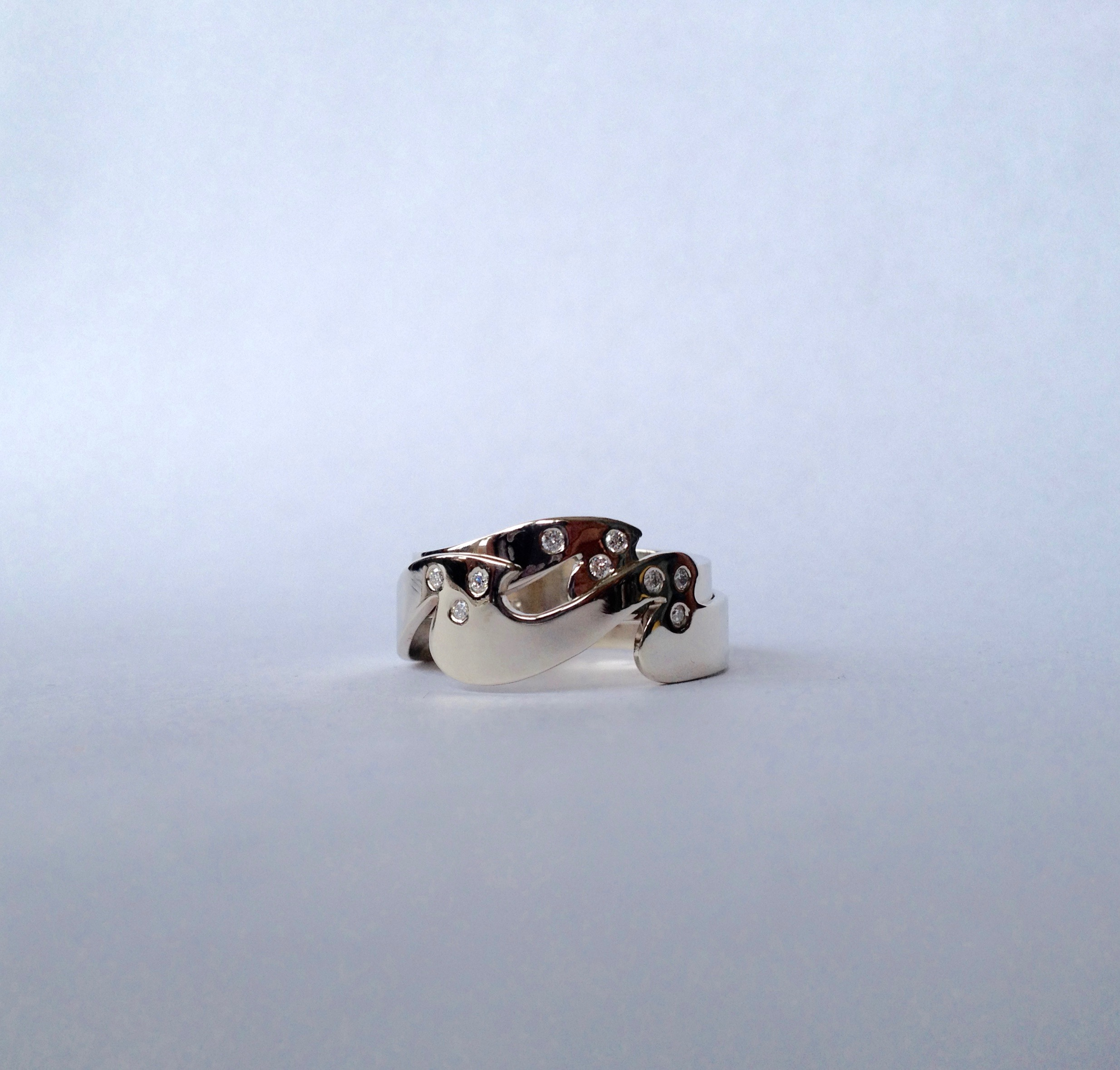 14k White Gold Double Wave Wedding Band with Diamonds
