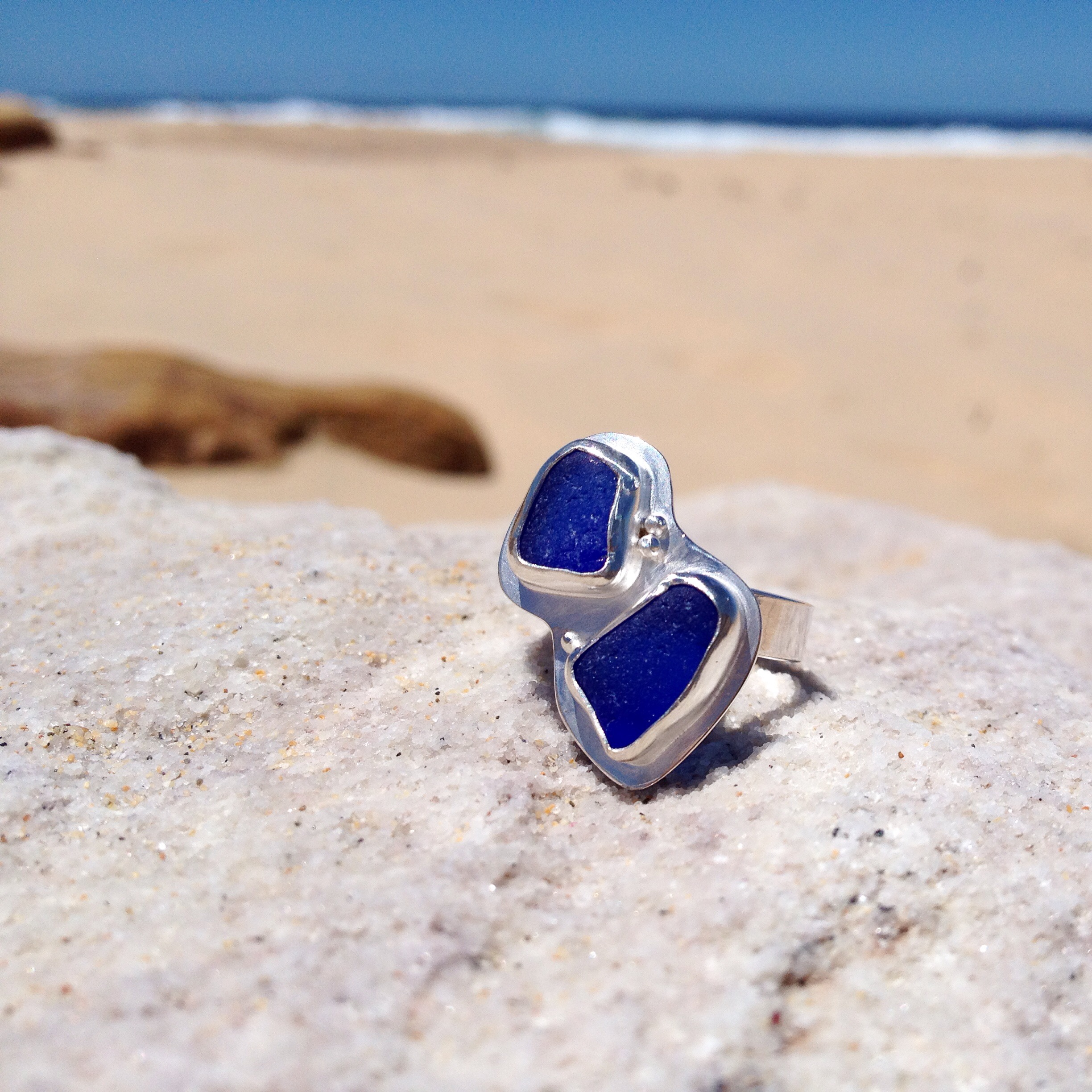 Double Cobalt Sea Glass Ring