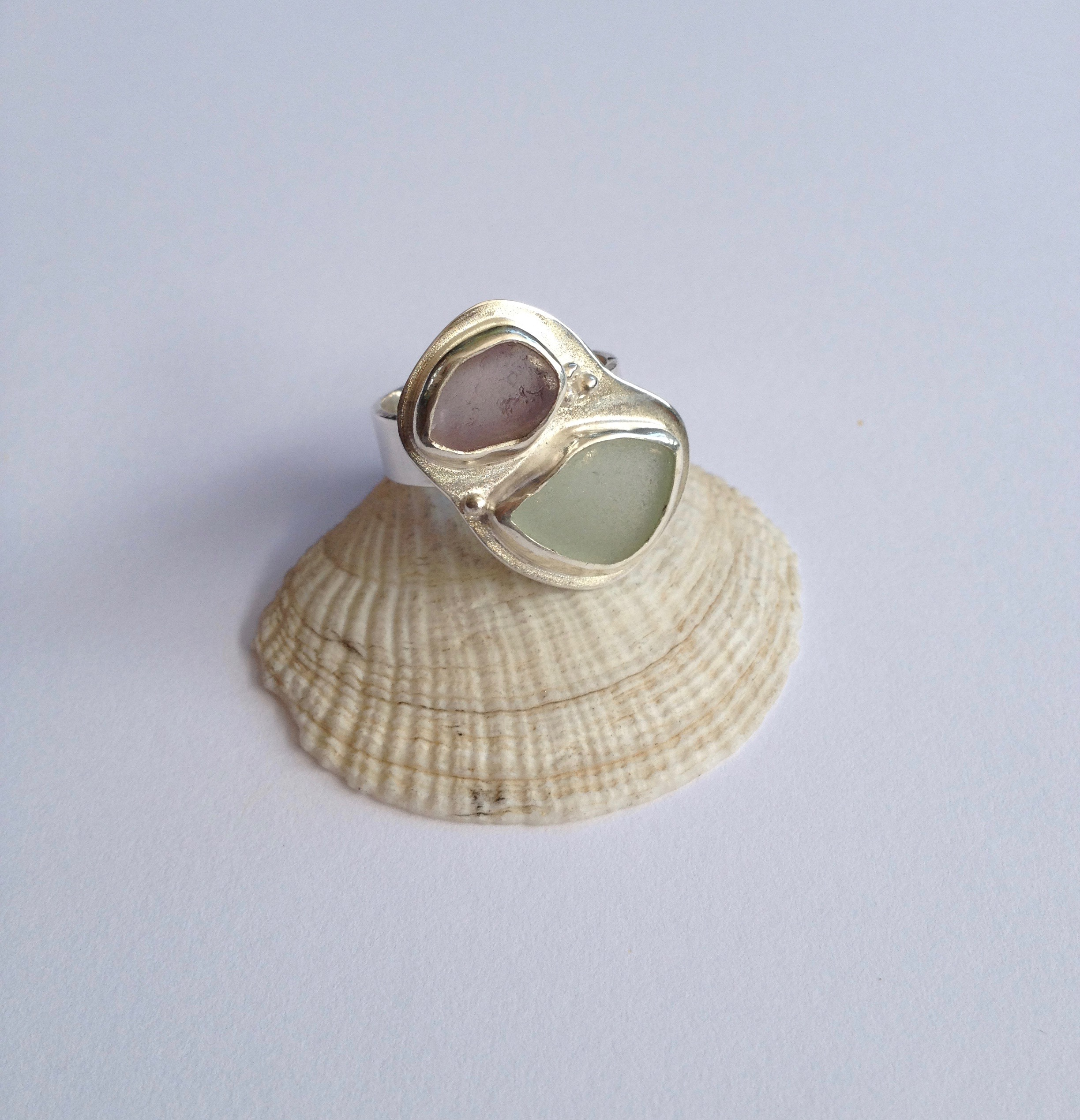 Lavender and Wintergreen Double Sea Glass Ring