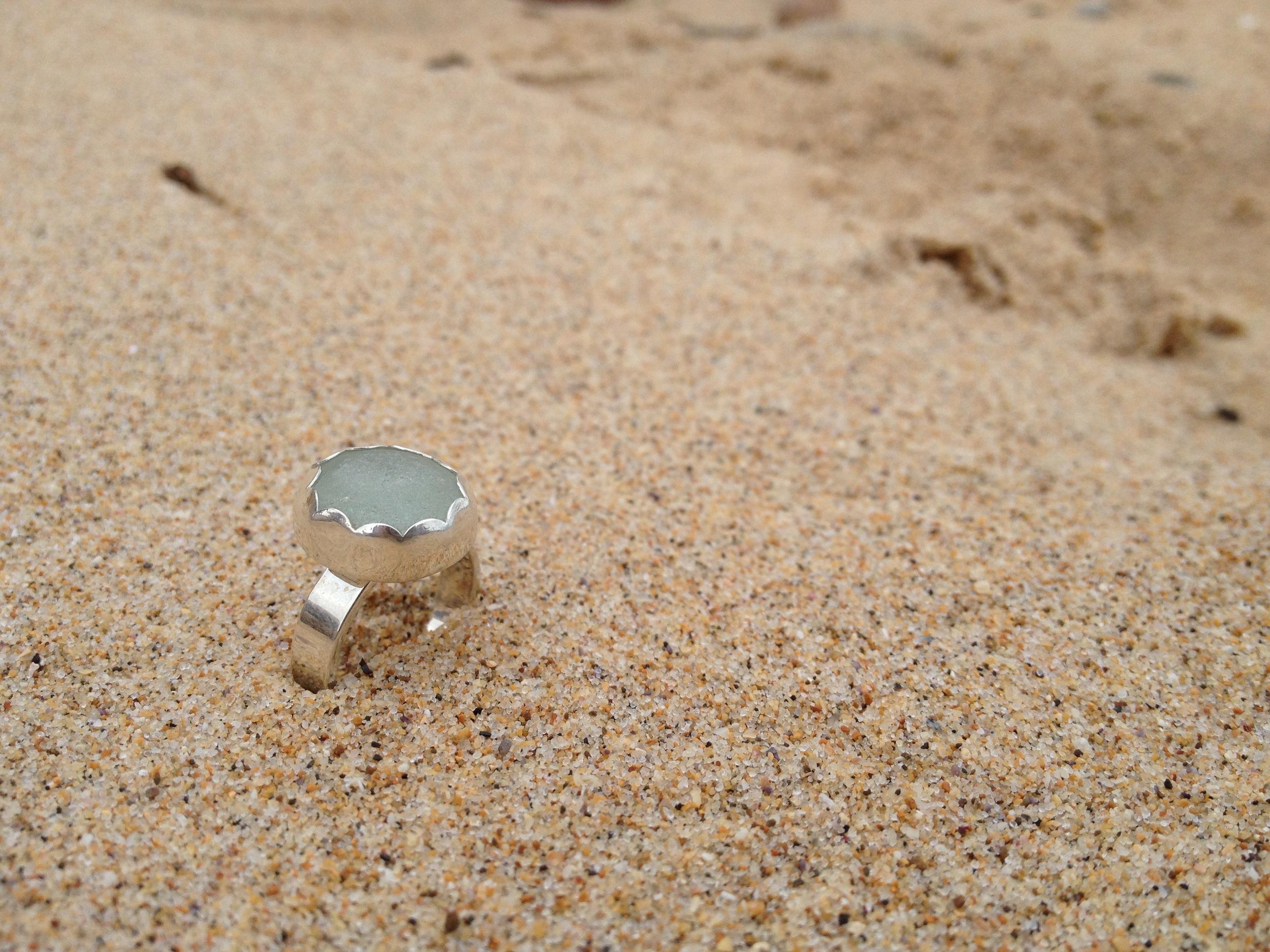Light Blue Scalloped Sea Glass Ring