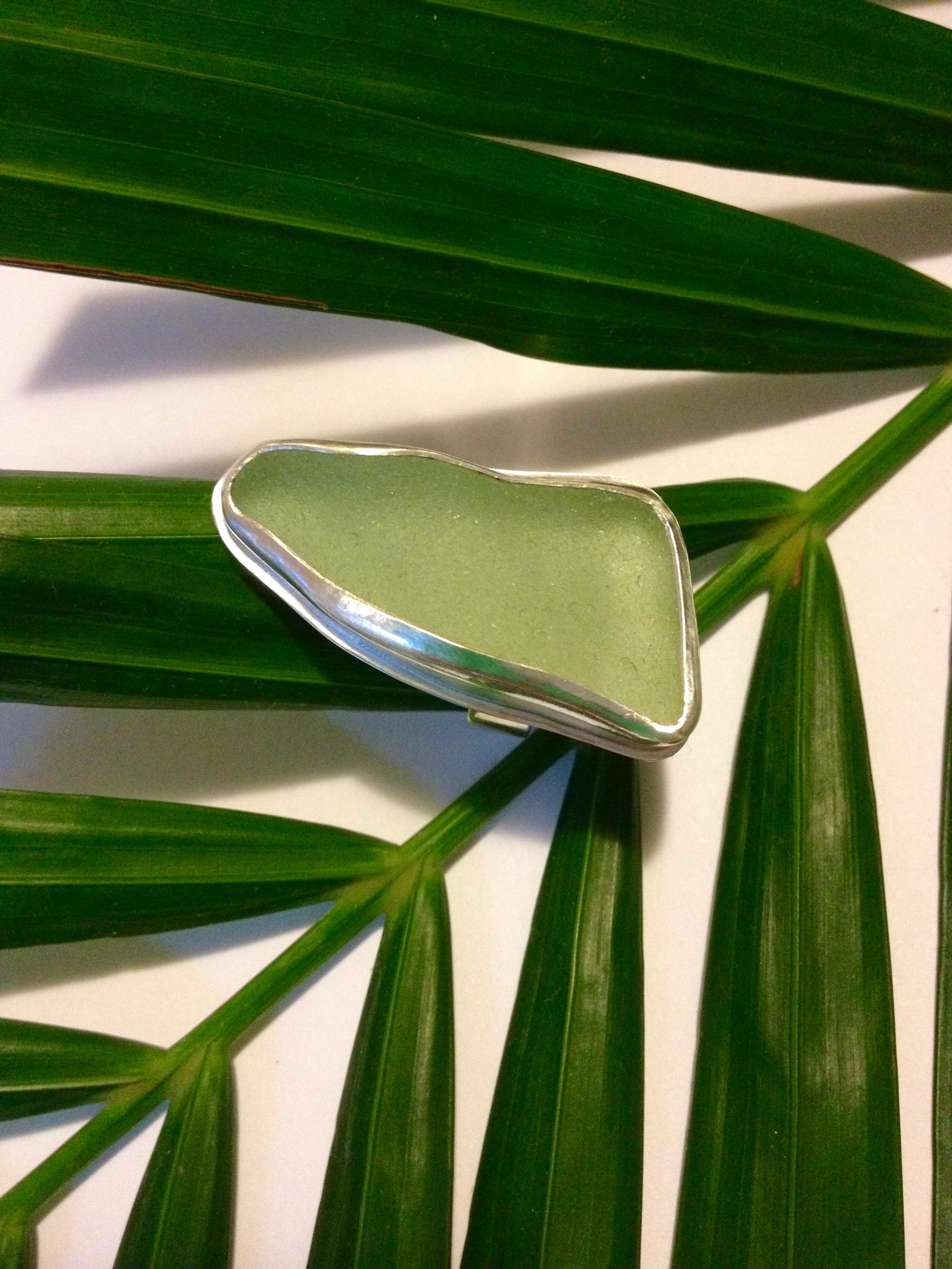 Large Light Green Sea Glass Ring