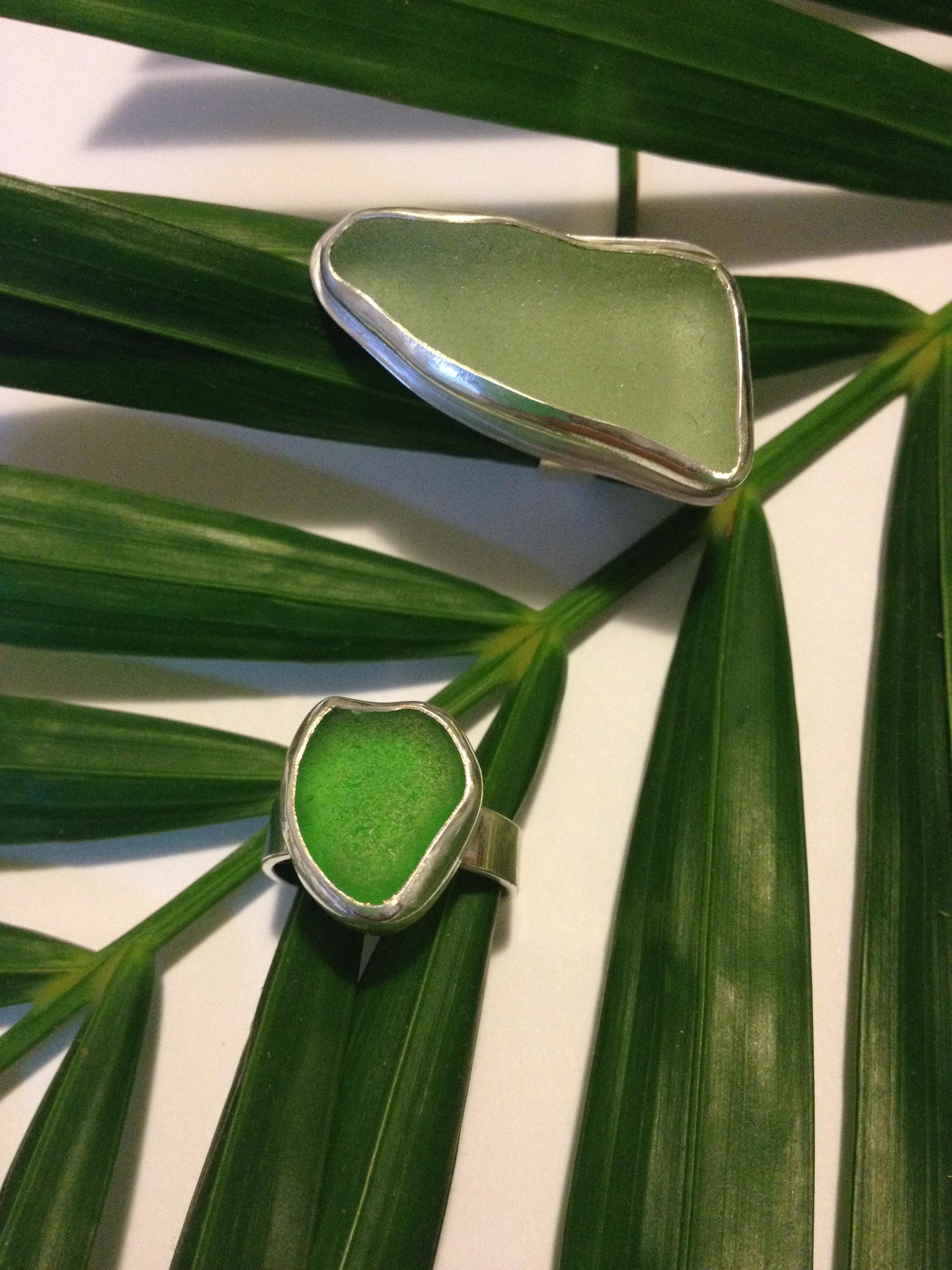 Green Sea Glass Rings