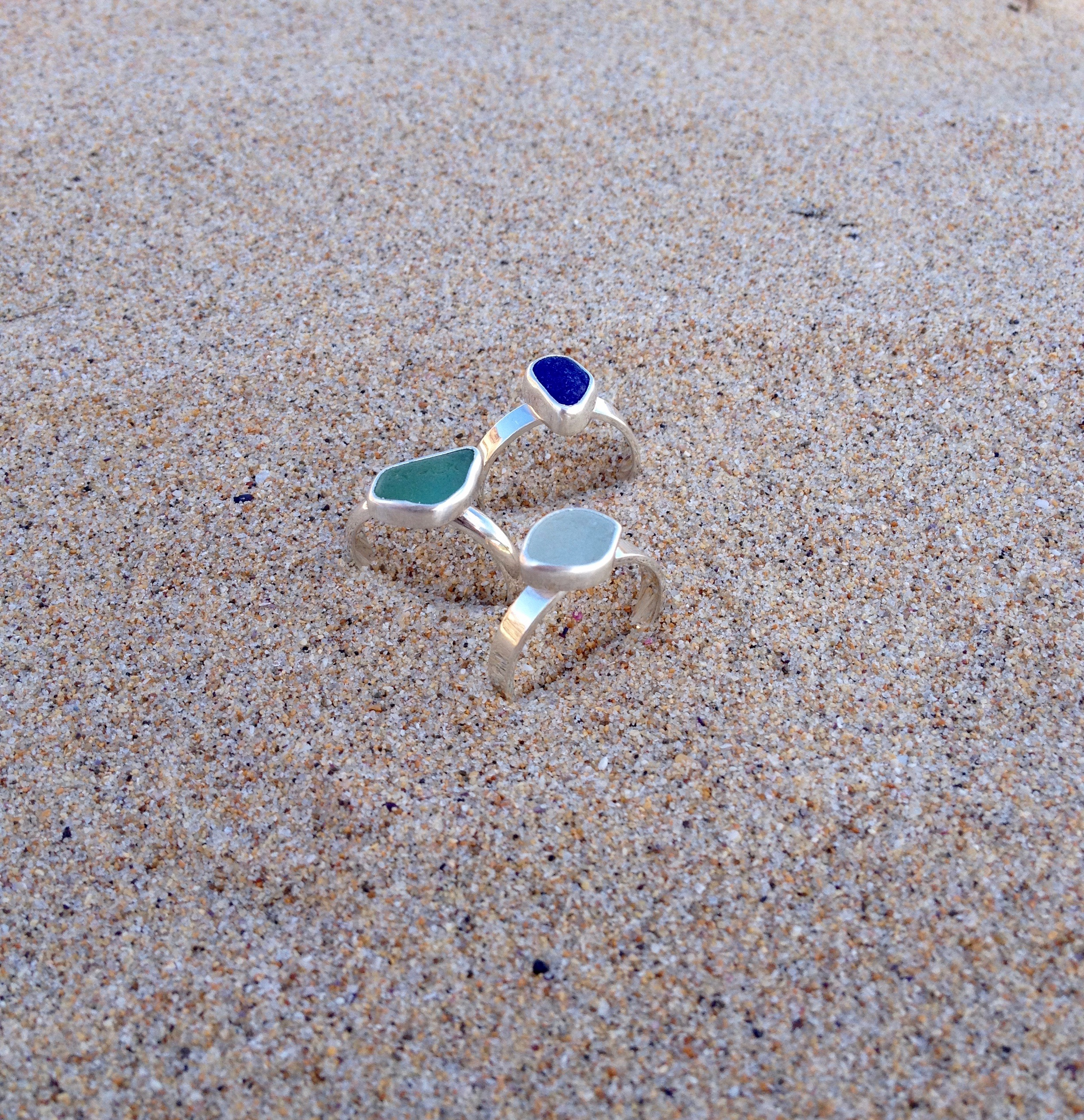 Stackable Sea Glass Rings Set