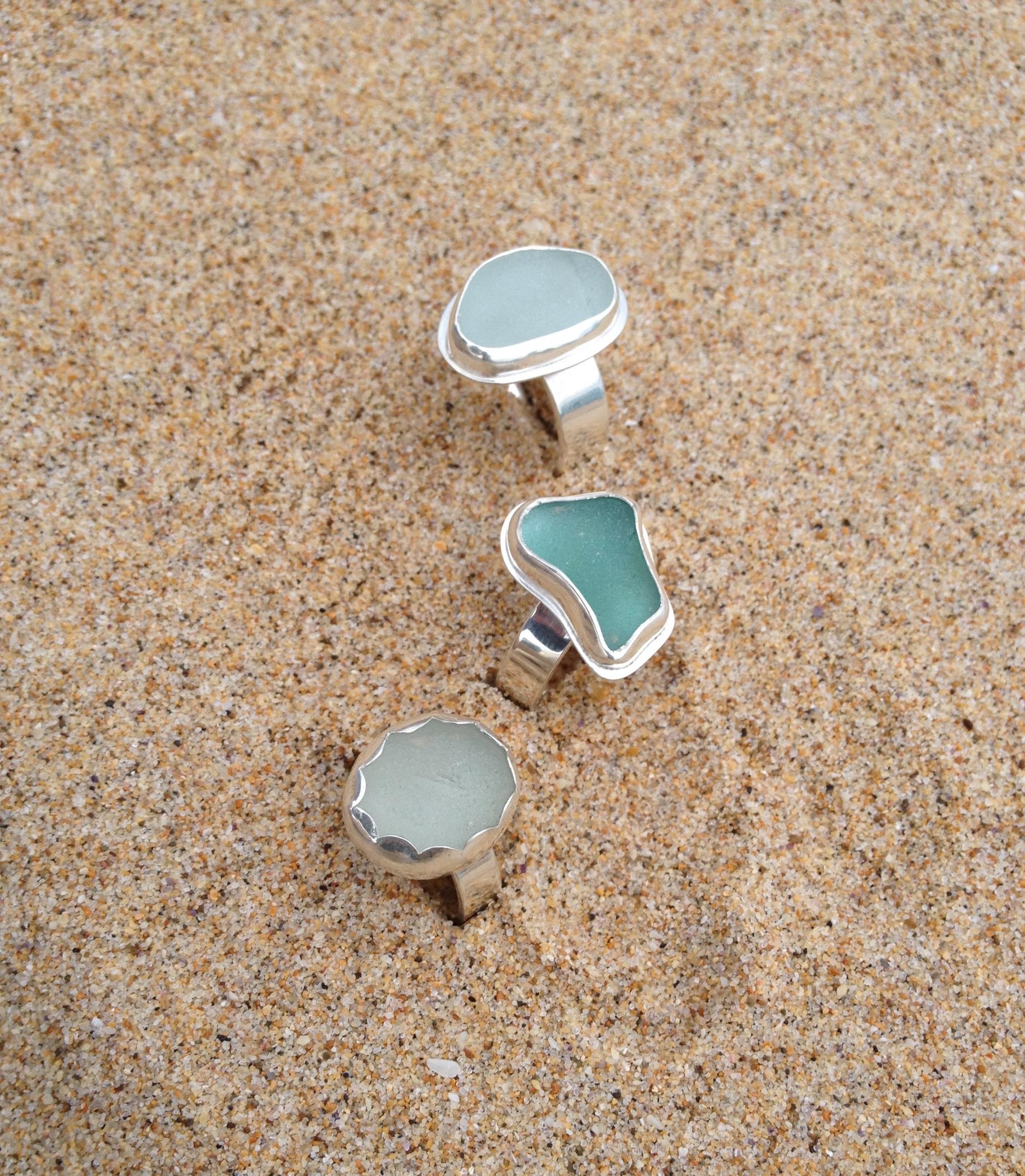 Blue Hues Sea Glass Ring Set