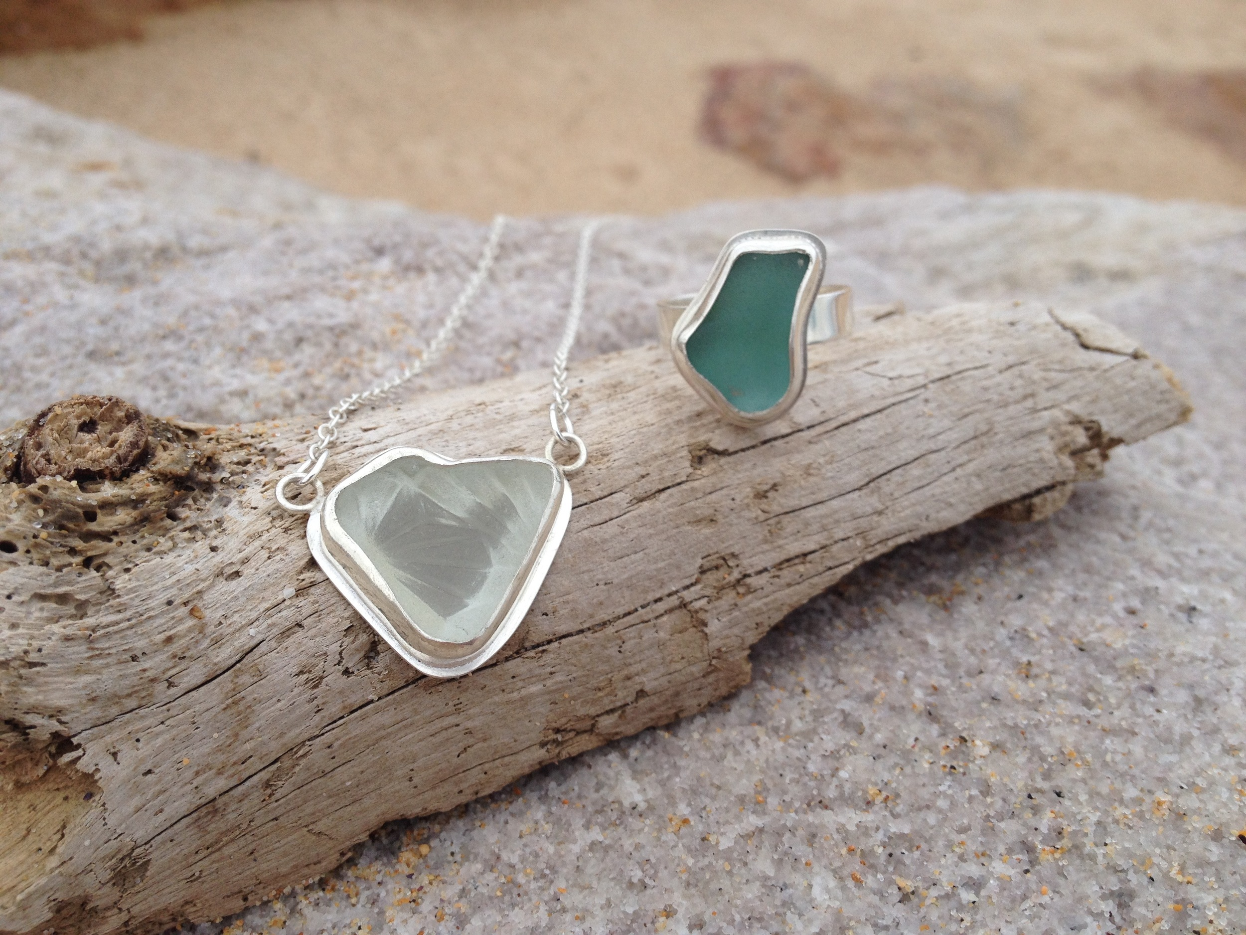 Crystal Heart White Sea Glass Necklace and Turquoise Sea Glass Ring Set