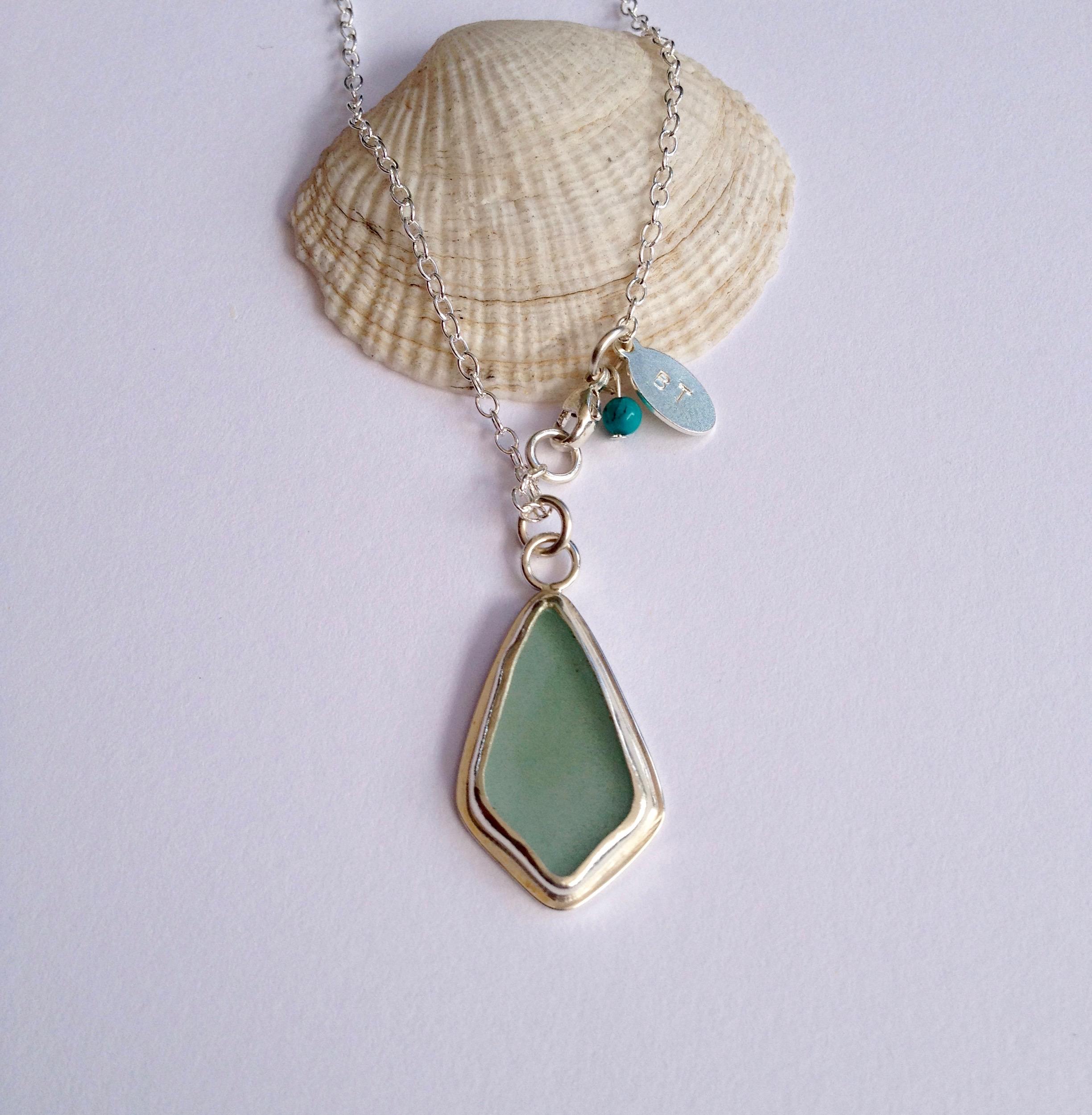 Light Turquoise Diamond Sea Glass Necklace