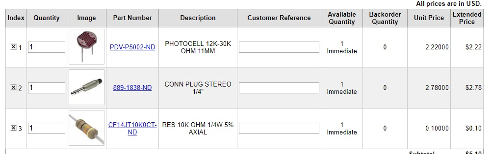 If you're a fancy pants and want to buy the bigger photocell with the high quality plug, get it from Digikey with the above part numbers.