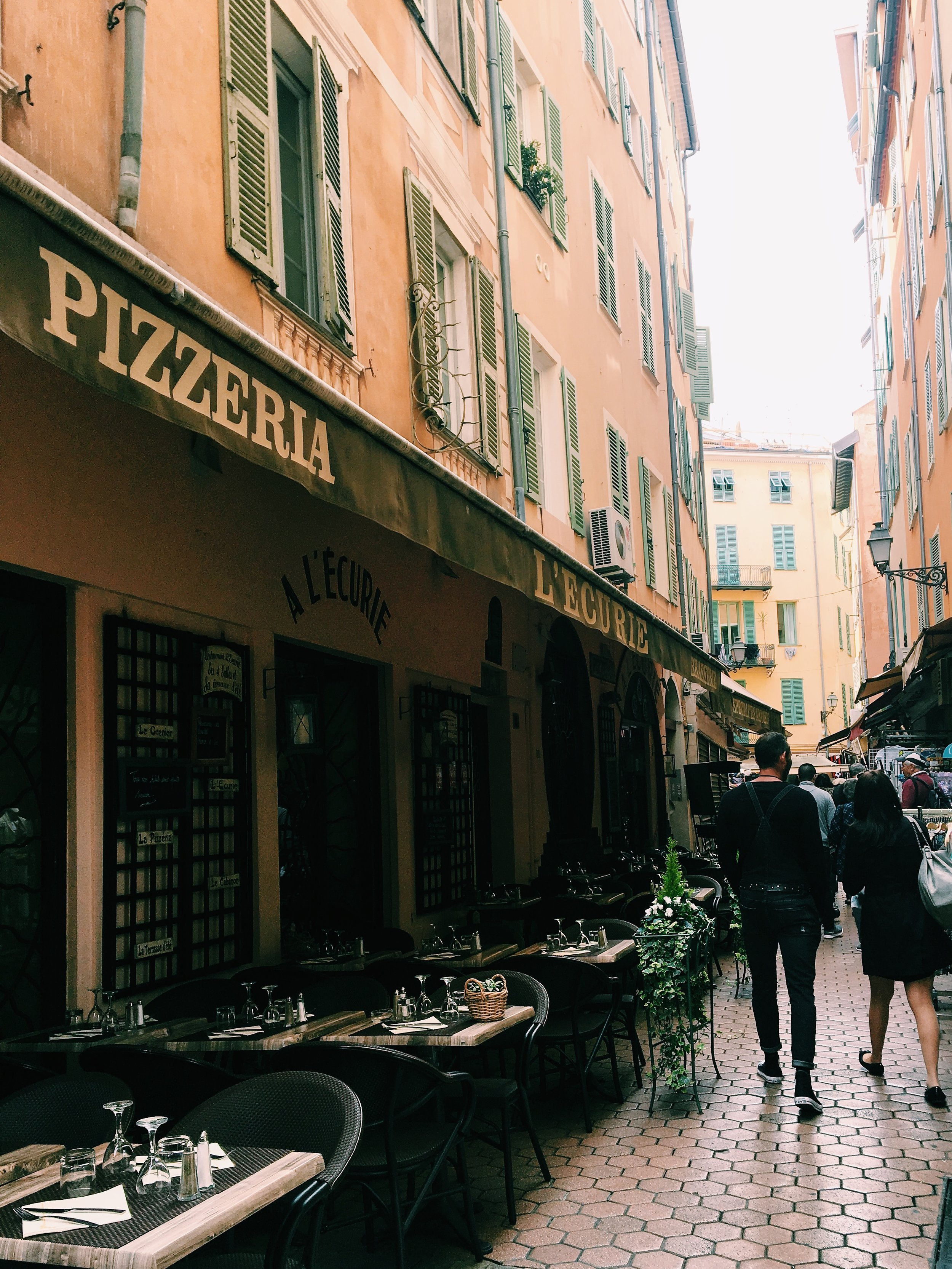 Meandering the streets of  Vieux Nice  (Old Nice),abundant with shops, restaurants, and charming alleyways