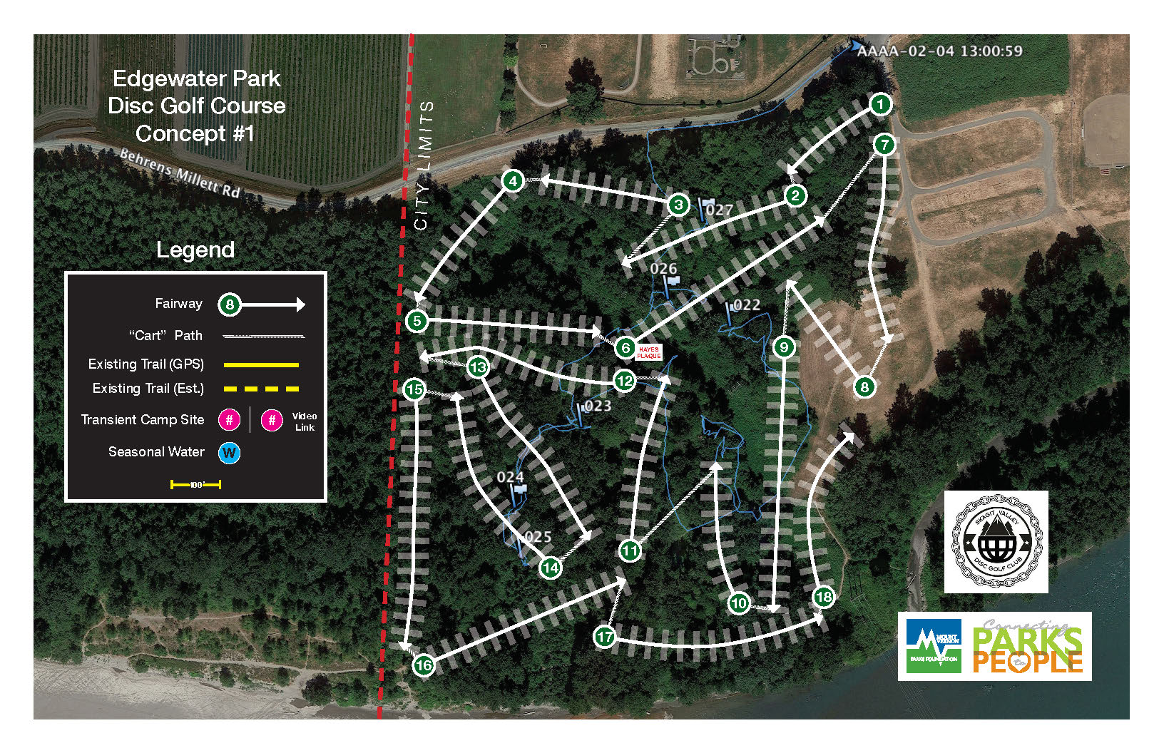 MVPF's conceptual plan for trails and surrounding brush mitigation for walking and disc golf use.