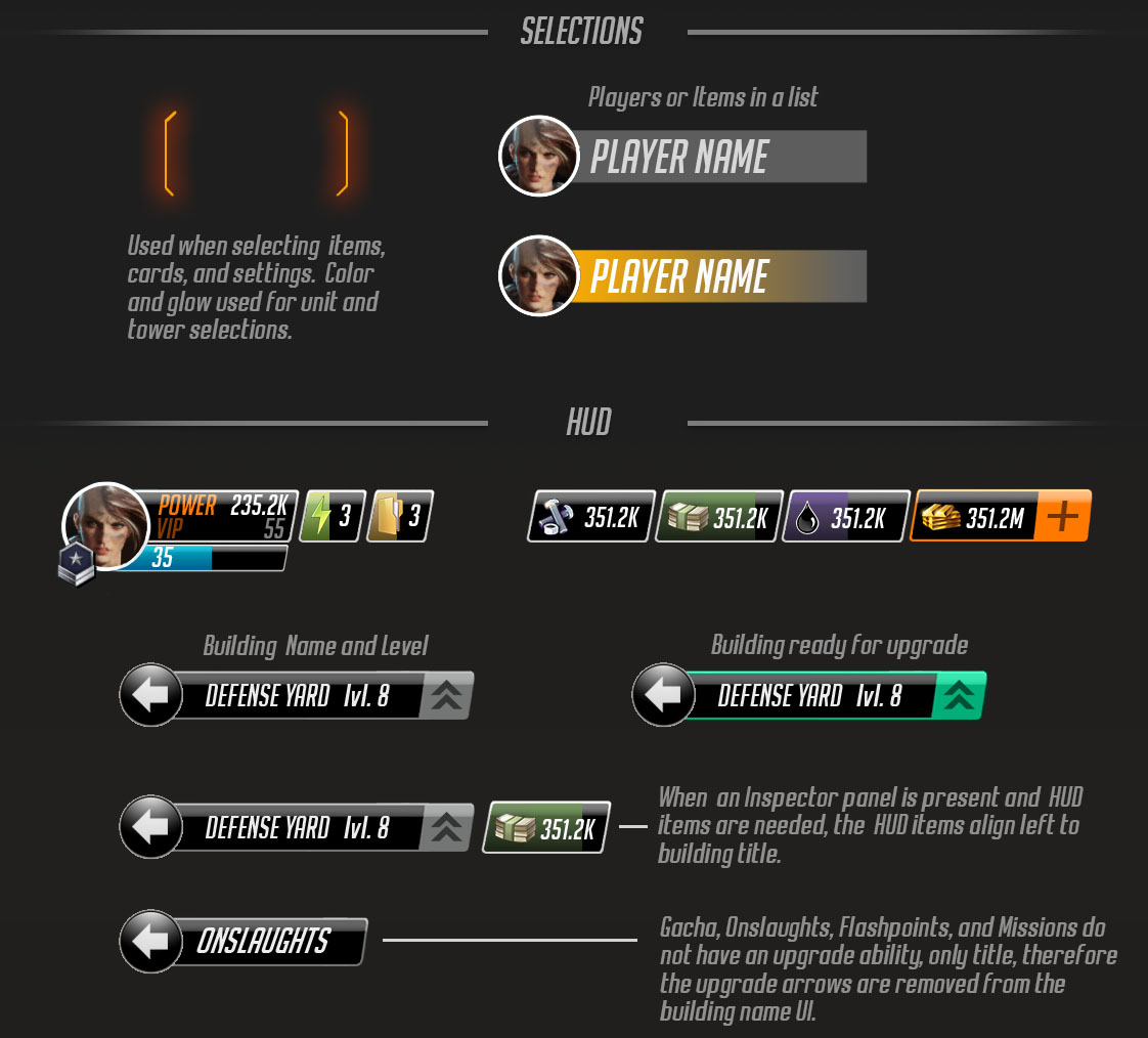 Selection frames and Game Statsbar