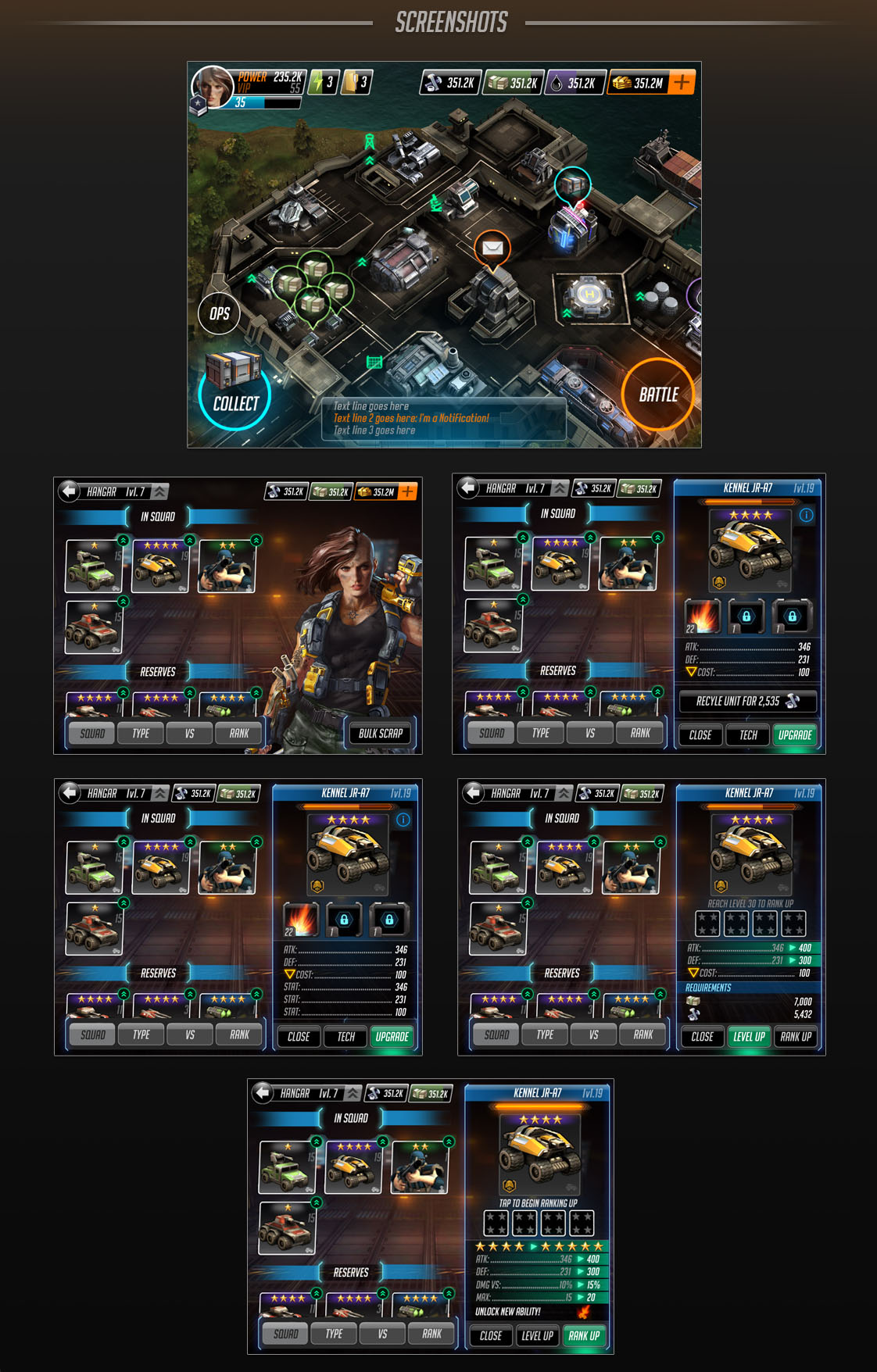 Homebase UI and Hangar UI; the Hangar is the primary place for players to view, upgrade, and add abilities to their units.