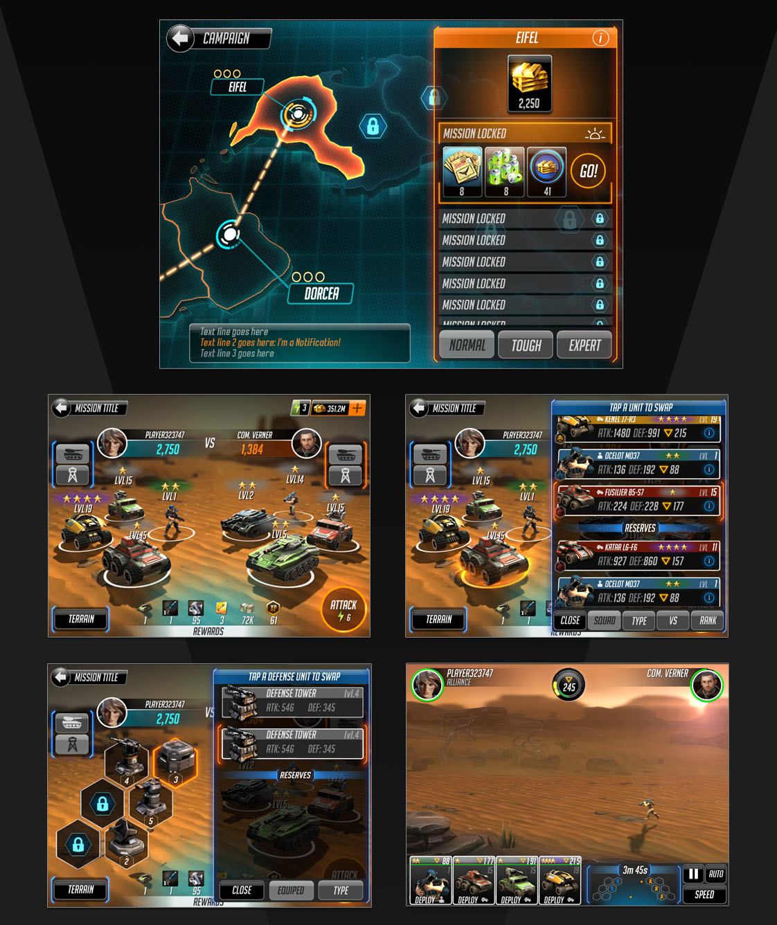 Campaign Map UI and Mission Briefing set up where players can organize their units and defense towers prior to battle.