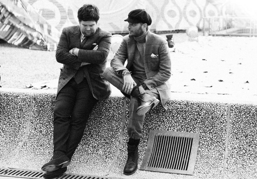 Andrew Seibert (left) at Pitti Uomo with friend and collaborator Luca Rubinacci.