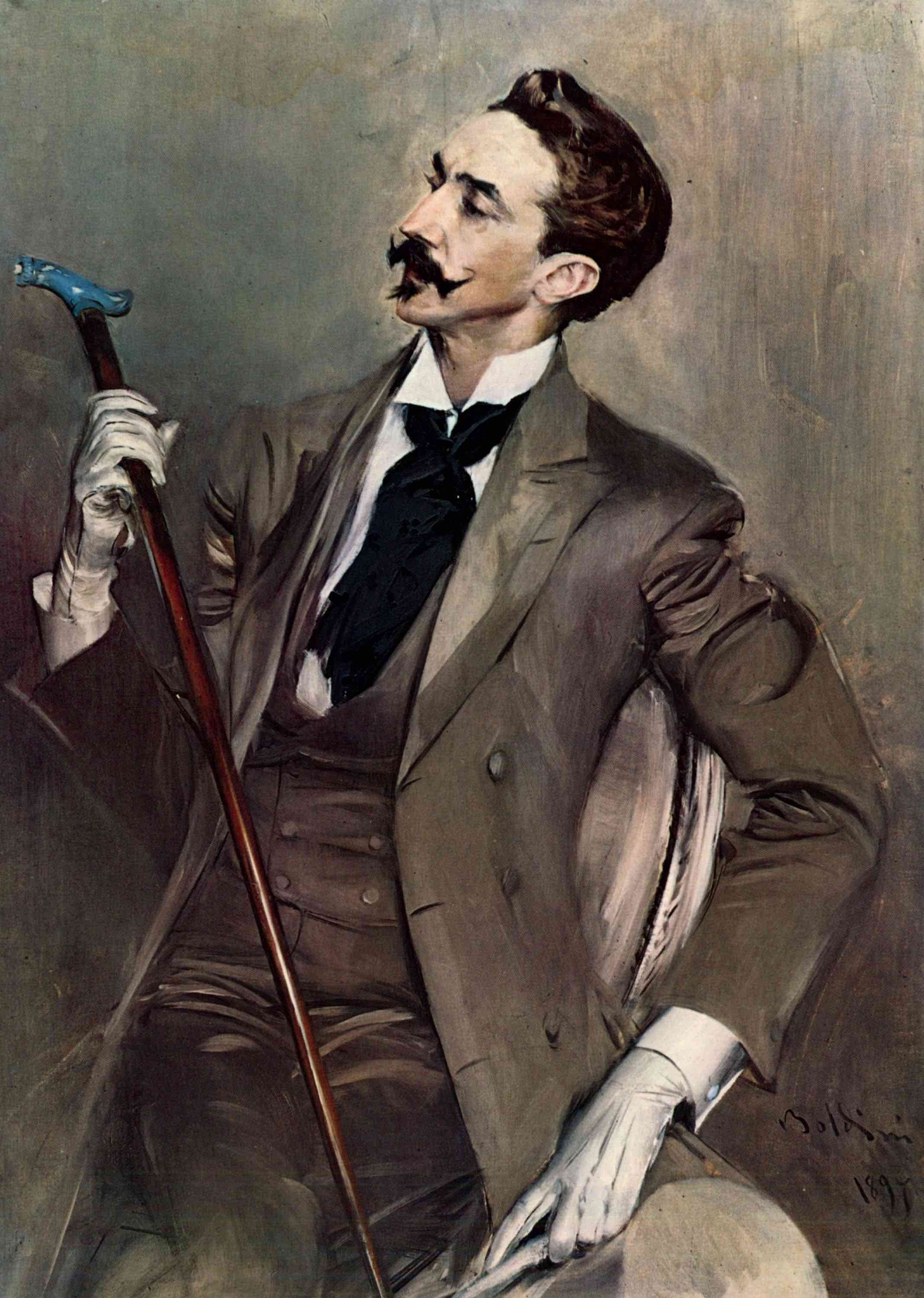 Boldini's 1897 portrait of Baudelarian dandy Count Robert de Montesquiou (sporting suitably sober neckwear).