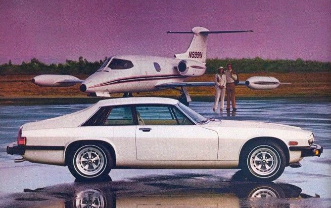A gorgeous automobile, however beware: the Jaguar XJ-S may end up costing nearly as much to run and maintain as that private jet there.