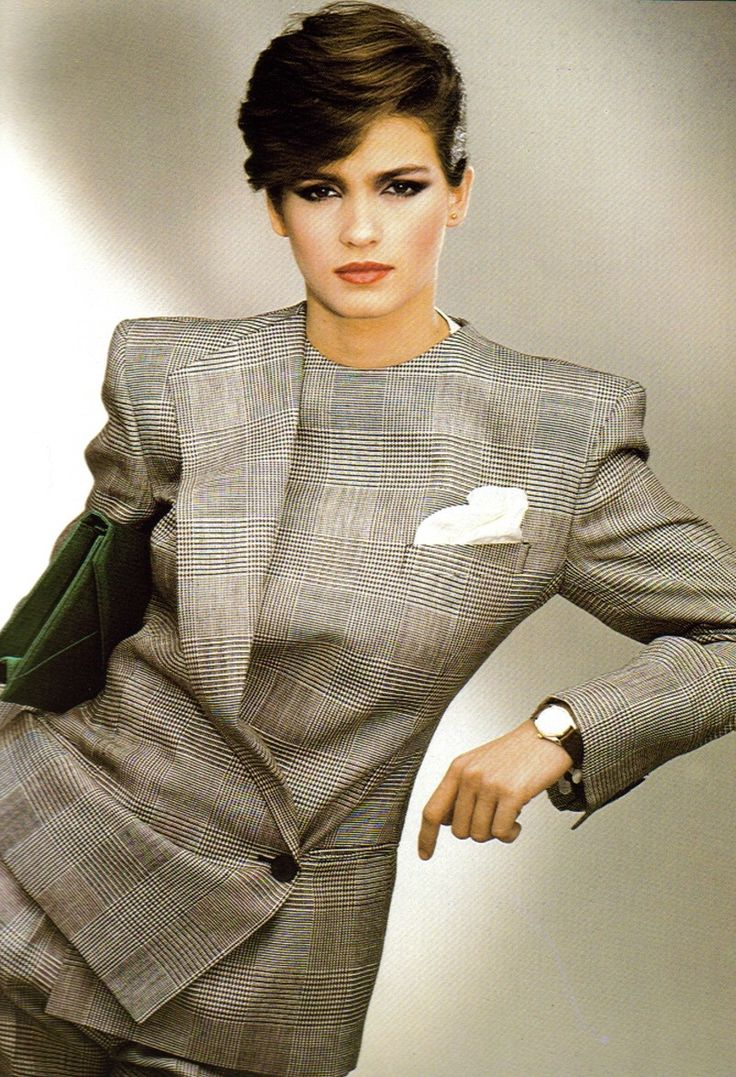 Like this Eighties Armani alpha female, her time is money — and it's just as important as yours. Be considerate with arrangements.